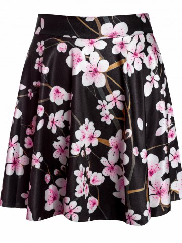 Shops Sexy Floral Print High-Waisted Circle Skirt