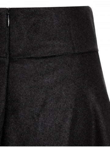 Chic Woolen Midi High Waist Skirt - S BLACK Mobile