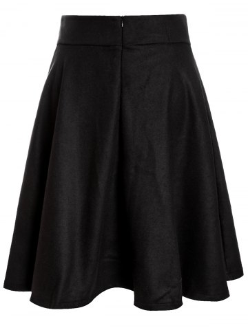 Sale Woolen Midi High Waist Skirt - S BLACK Mobile