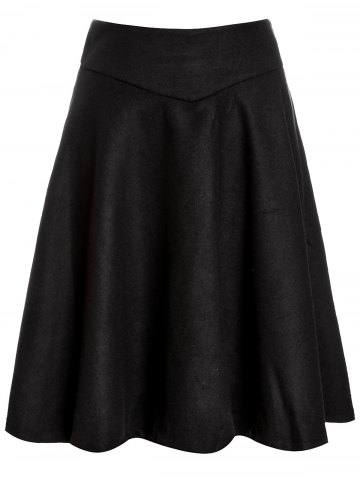 Affordable Woolen Midi High Waist Skirt BLACK XL