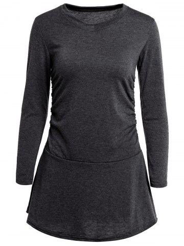 Stylish V-Neck Long Sleeve Flounced Solid Color Women's Dress - DEEP GRAY ONE SIZE(FIT SIZE XS TO M)
