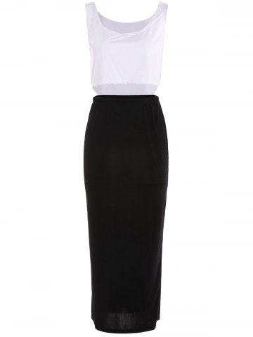 Outfit Stylish U Neck Bodycon Suit For Women - M WHITE AND BLACK Mobile
