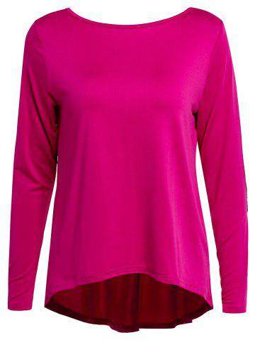 Trendy Graceful Jewel Neck Sequin Spliced Long Sleeve Blouse For Women ROSE XL