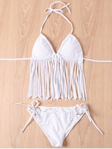 Fashion Sexy Halter Tassels Embellished Solid Color Women's Bikini Set