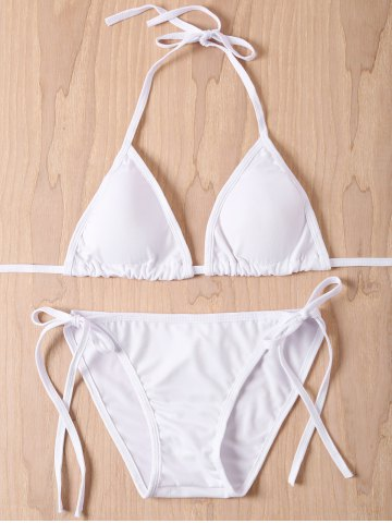 Best Sexy Solid Color Halter Lace-Up Women's Bikini Set