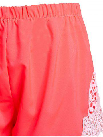 Hot Sweet Elastic Waist Laced Shorts For Women - XL PINK Mobile