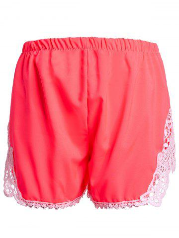 Store Sweet Elastic Waist Laced Shorts For Women - XL PINK Mobile