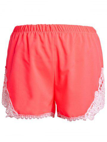 Buy Sweet Elastic Waist Laced Shorts For Women - XL PINK Mobile