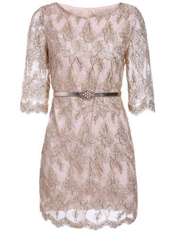 Fancy Ladylike Round Collar Gold Thread Embroidery Lace Women's Dress With A Belt