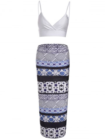 Latest Sexy Spaghetti Strap Low Cut Tank Top + Printed Asymmetrical Skirt Women's Twinset BLUE AND WHITE S