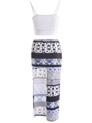 Affordable Sexy Spaghetti Strap Low Cut Tank Top + Printed Asymmetrical Skirt Women's Twinset - S BLUE AND WHITE Mobile
