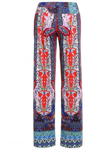 Sale Damask Tribal Print Wide-Leg Palazzo Pants