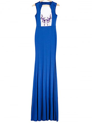 Fancy Plunging Neck Sleeveless Backless Printed Maxi Foraml Dress ROYAL BLUE S