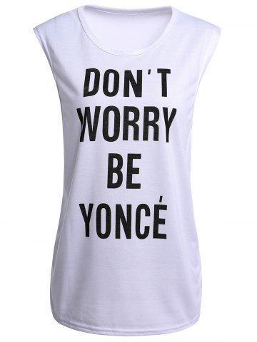 Hot Attractive Jewel Neck Letter Printed Tank Top For Women