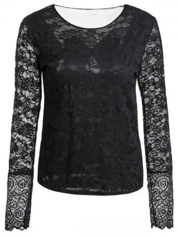 Fancy Stylish Scoop Neck Long Sleeve See-Through Bowknot Pattern Women's T-Shirt