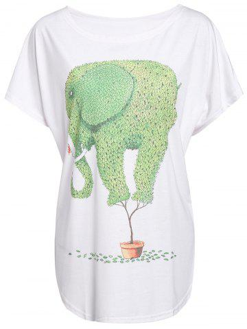 Outfit Casual Scoop Neck Cartoon Green Elephant Print Color Block Women's T-Shirt