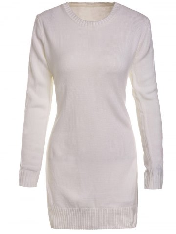 Discount Sweet Round Neck High Slit White Sweater For Women WHITE S