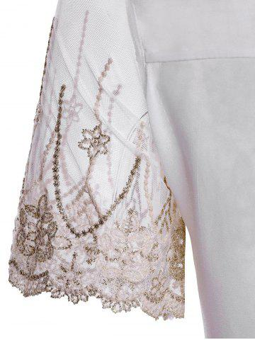 Affordable Refreshing Scoop Neck Faux Pearl Beaded Embellished Lace Splicing Women's Blouse - M COLORMIX Mobile