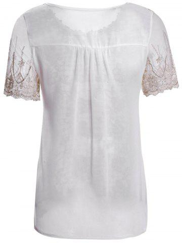 Chic Refreshing Scoop Neck Faux Pearl Beaded Embellished Lace Splicing Women's Blouse - M COLORMIX Mobile