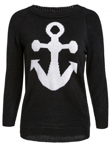 New Stylish Jewel Neck Anchor Printed Sweater For Women BLACK M