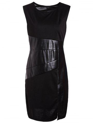 Online Jewel Neck Sleeveless Faux Leather Bodycon Dress BLACK S
