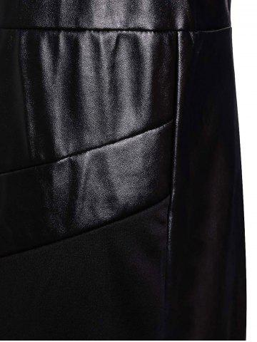 Outfits Faux Leather Insert Bodycon Sheath Dress - S BLACK Mobile