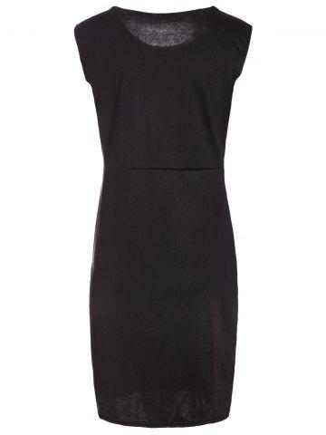 Outfits Faux Leather Insert Bodycon Sheath Dress - M BLACK Mobile