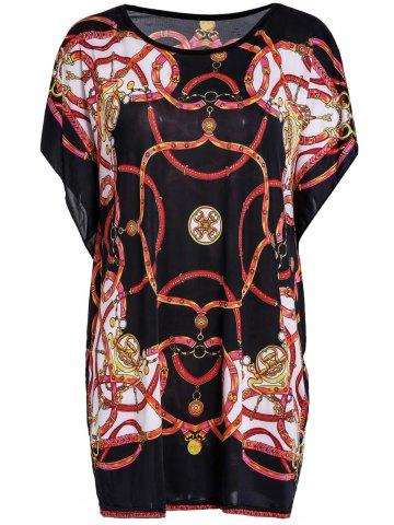 Shops Stylish Scoop Neck Batwing Sleeve Printed Blouse For Women COLORMIX XL