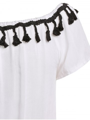 Trendy Sexy Off-The-Shoulder Short Sleeve Lace Spliced Tassles Women's Romper - S WHITE Mobile