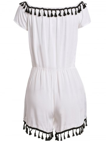 Outfits Sexy Off-The-Shoulder Short Sleeve Lace Spliced Tassles Women's Romper - S WHITE Mobile