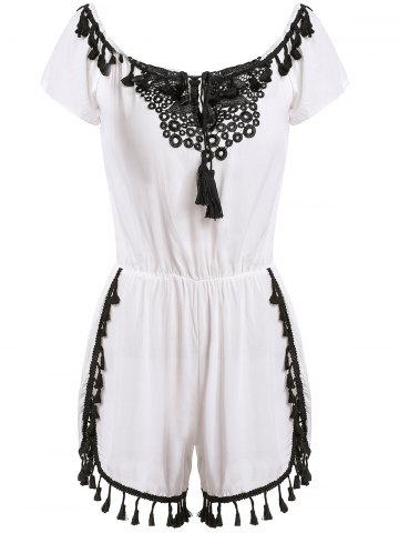 Discount Sexy Off-The-Shoulder Short Sleeve Lace Spliced Tassles Women's Romper