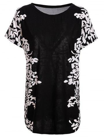 Store Stylish Scoop Neck Short Sleeves Floral Print Long T-Shirt For Women