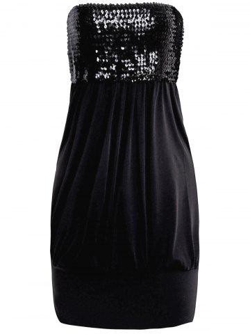 Fashion Alluring Strapless Ruffled Sequins Sleeveless Women's Twinset