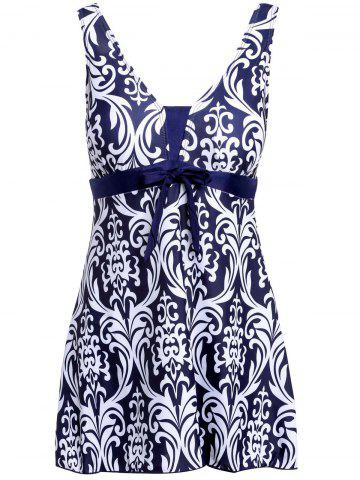 New Ethnic Style V-Neck Bowknot Embellished Printed One-Piece Swimsuit For Women