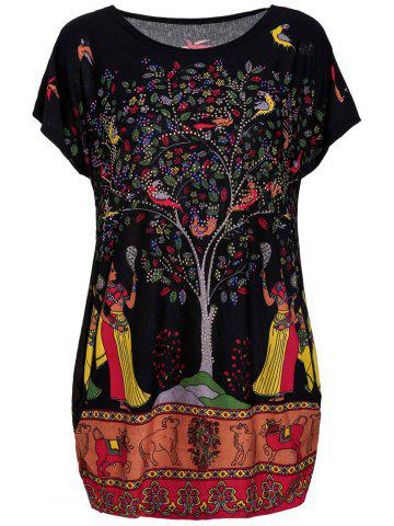 Unique Plus Size Scoop Neck Tree Print Figure and Animal Pattern Women's Dress