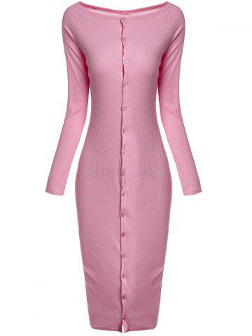 Large PINK Off The Shoulder Long Sleeve Slimming Pink Single Breasted Dress