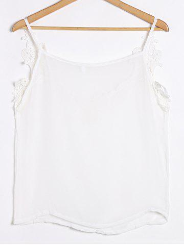 Affordable Spaghetti Strap Low Cut Camisole Cami Tank Top - S WHITE Mobile