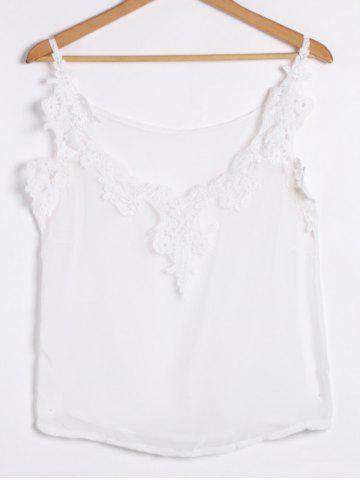 Spaghetti Strap Low Cut Camisole Cami Tank Top - White - M