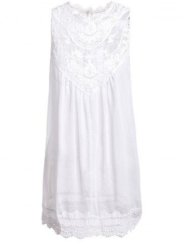 Affordable Turtle Neck Sleeveless Lace Dress - S WHITE Mobile