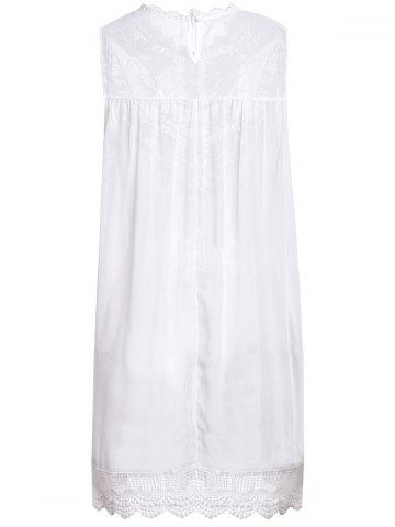 Fancy Turtle Neck Sleeveless Lace Dress - S WHITE Mobile