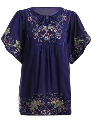 Best Ethnic Style Embroidery Bell Sleeve Tie Neck Top For Women