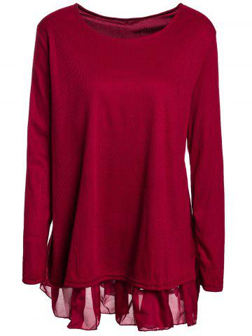 Casual Scoop Neck Long Sleeve Spliced Loose-Fitting Women's Dress - Wine Red - 2xl