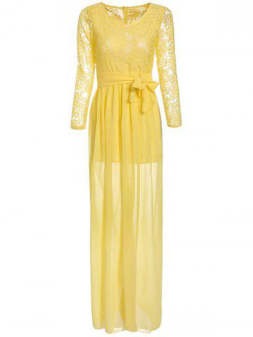 Fancy Lace Chiffon Long Sleeve Sheer Prom Dress YELLOW L