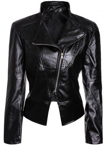 Fashion Stylish Turn-Down Collar Long Sleeves PU Leather Black Jacket For Women BLACK M