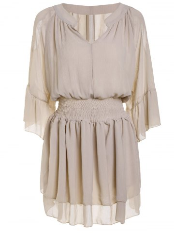 Buy Casual V-Neck Solid Color Hollow Double-Layered Dress Women - Nude 2XL