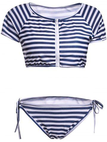 Fashion Stylish Scoop Neck Striped Short Sleeve Two Piece Swimwear For Women