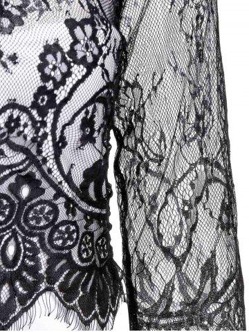 Affordable Jewel Neck Long Sleeve Lace Splicing Pencil Dress - M BLACK Mobile