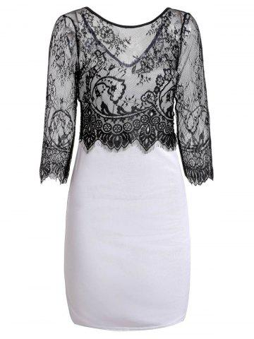 Fashion Jewel Neck Long Sleeve Lace Splicing Pencil Dress BLACK M