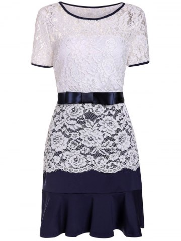 Trendy Sweet Scoop Neck Lace Spliced Short Sleeve Dress For Women