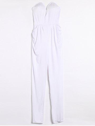 Buy Sexy Solid Color Strapless Jumpsuit For Women
